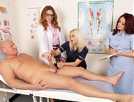 Paul has gone to see the doctor because his penis is unusually thick and he is worried it is swollen. When he drops his trousers the female doctor's eyes pop out of her head! She calls in two nurses t...