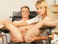 Mirek Madl visits the clinic. The sexy doctor tests his groin, feeling his balls and then his cock on the exam chair.