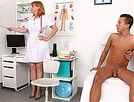 Hot legs redhead cougar Marg is a sexy doctor