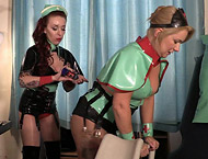 Mistress Erika and Julia - Pre Surgery Preparations - Latex Lesbian Nurses