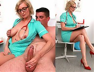 Big boobs Euro Milf doctor Christa clinic blowjob