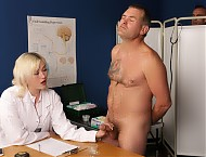 Dr Misha is conducting research into male arousal and has persuaded four naked male victims to be test subjects. One by one she calls in the reluctant men and carries out a series of checks on their p...