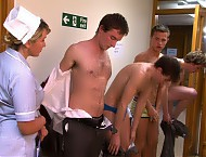 It's Annual Physical time at St Dunstan's school and the boys are nervous. They are told to strip and line up in the corridor. The fit young boys have raging hormones and here they are totally exposed...