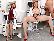 Older lady doctor Stefania CFNM big dick handjob