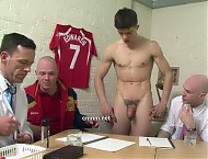 Star footballer Jack must stand fully naked in front of the club's directors while they survey his body and genitals. They openly discuss how his cock compares to his teammates and how heavy his testi...